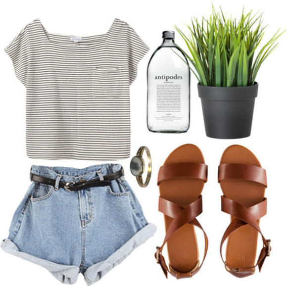 t-shirt shorts shoes high waisted short light wash denim stripes brown strappy sandals