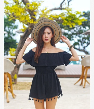 dress romper cold shoulder beach party black romper off the shoulder hat straw hat summer outfits