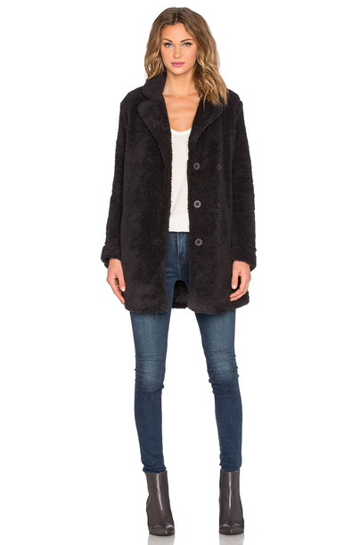 RVCA coat faux fur coat fur coat fur faux fur warm black