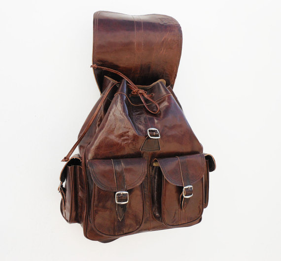 Brown Leather backpack satchel bag Handmade by NoussaBags