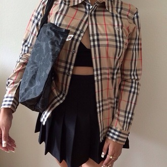 top plaid women burberry button up shirt hair accessory skirt