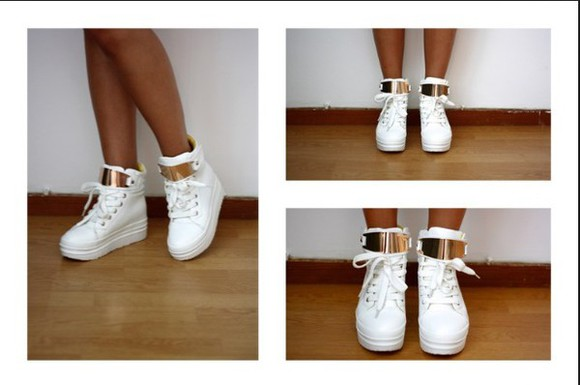 shoes sneakers white gold