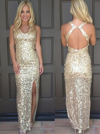 dress gold sequins fashion style slit dress trendy beautiful sexy party gown