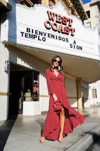 carriebradshawlied blogger top skirt shoes jewels sunglasses bag red dress maxi dress red bag pumps