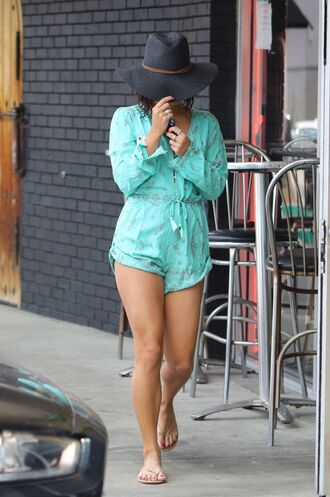 romper hat vanessa hudgens summer outfits flip-flops shorts blouse mint