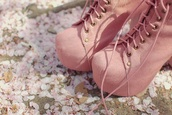 shoes,high heels,pink,booties,suede boots,lace up,pretty