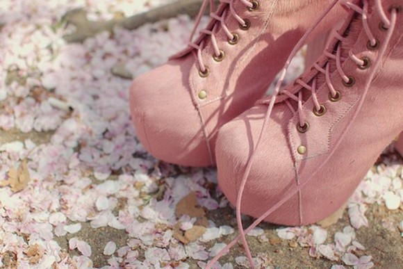 pretty shoes pink high heels booties suede boots lace up