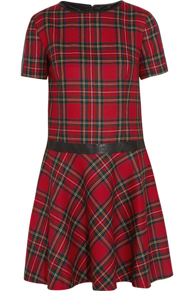 Karl Lagerfeld | Penny faux leather-trimmed tartan wool dress | NET-A-PORTER.COM