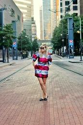 b soup,blogger,sunglasses,jewels,belt,stripes,dress
