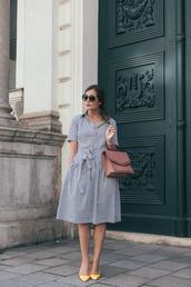 shoes,pumps,yellow,striped dress,midi dress,handbag,round sunglasses