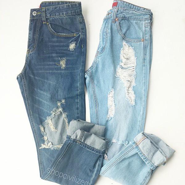 Light Blue Ripped Jeans Men