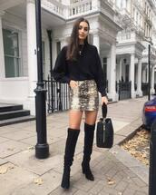 skirt,mini skirt,snake print,thigh high boots,suede boots,jumper,handbag,chain necklace