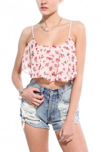 Floral Chiffon Crop Top In Rose