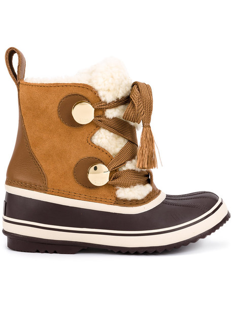 snow boots women snow leather suede brown shoes