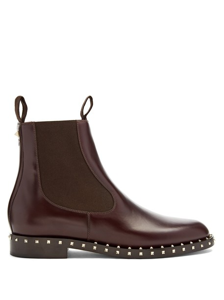 Valentino chelsea boots leather burgundy shoes