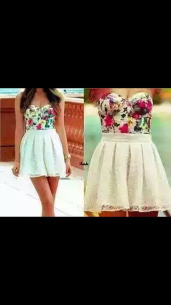 dress flowers white dress