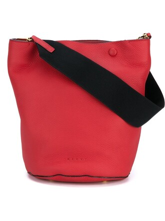 women bag shoulder bag leather cotton red