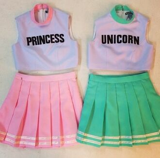 princess unicorn tank top bff lovely girly crop tops skirt cute matching shirts matching skirt and top outfit dress unicorn and princess top grunge punk punk/grunge/raver blouse for me and bestiee. pastle pink pastle style skirt shirt pastel fun tennis cute bestfriend pastel goth pink mint text tee unicorn shirt princess shirt pink shirt t-shirt pink skirt green purple jumpsuit cheerleading tumblr pastel shirt white and pink green shirt green skirt tumblr outfit japanese fashion two piece dress set