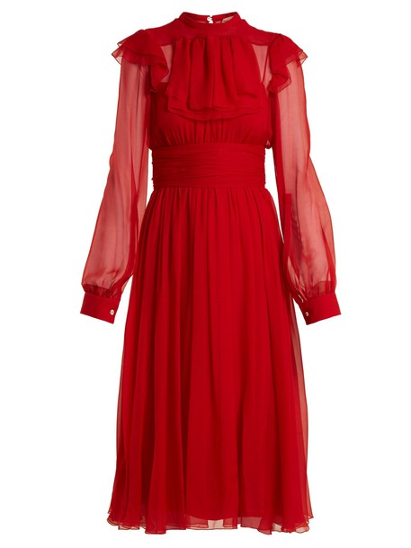 No. 21 dress midi dress chiffon midi silk red