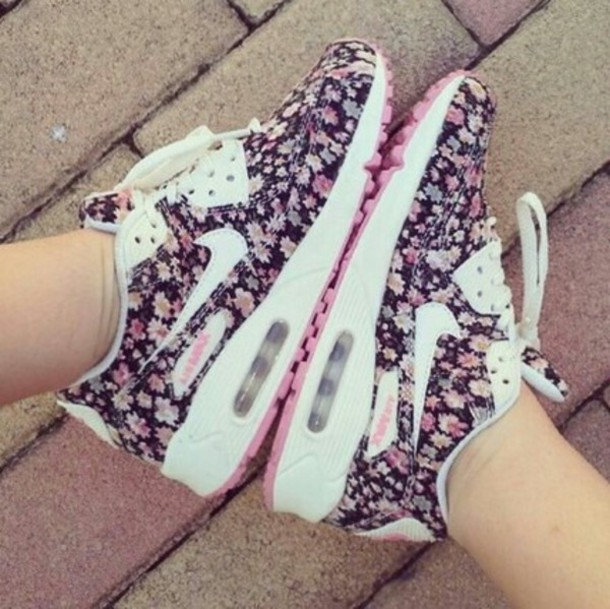 shoes nike running shoes nike sneakers nike air max 90 floral shoes cute shoes floral air max