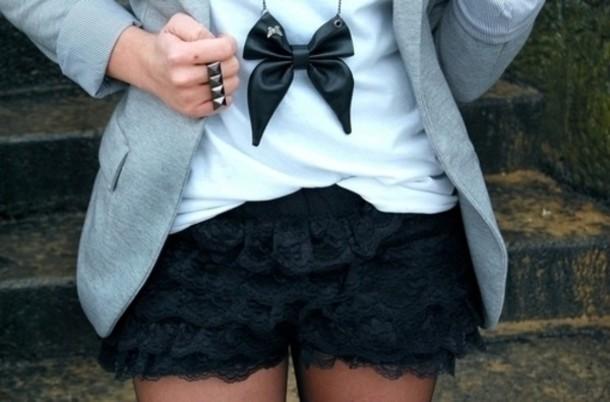 lace shorts skirt shorts jacket jewels shirt lace black bow jewelry