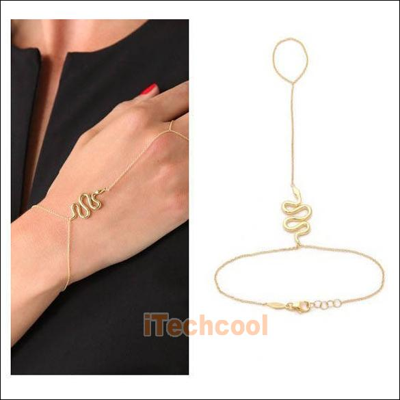 Cool Snake Pendant Girls Lady Bracelet Bangle with Ring Stylish Gold T1K | eBay