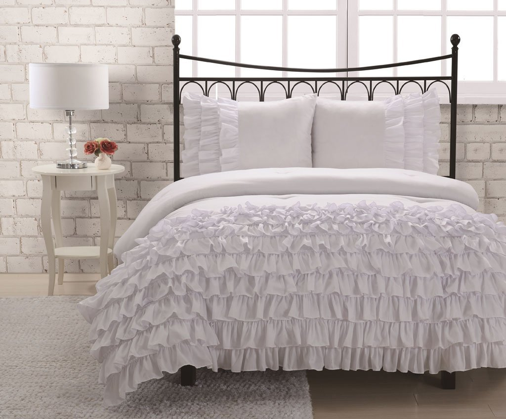 Amazon.com - Full Miley Mini Ruffle Comforter Set White ... Ruffled Bedspreads