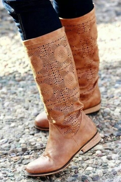 shoes tan boots brown leather boots nude boho leather boots