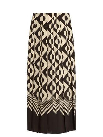 skirt midi skirt pleated midi geometric print silk white black