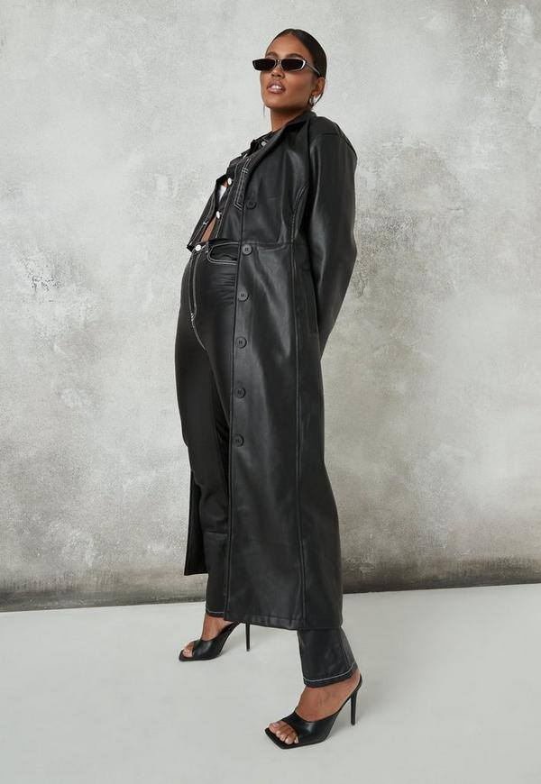 Black Faux Leather Seam Detail Maxi Coat