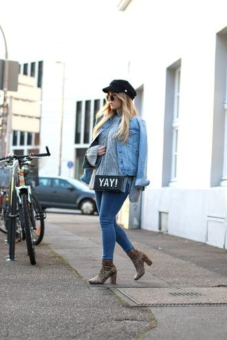 fashion twinstinct blogger jacket sweater jeans shoes bag hat sunglasses
