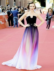 dress,black dress,long dress,purple dress,colorful dress,lily collins