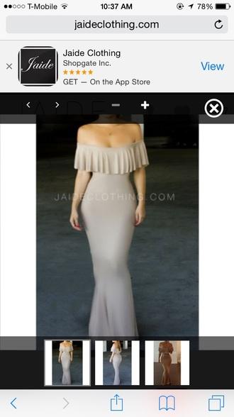 dress beige dress off shoulders maxi mermaid prom dress