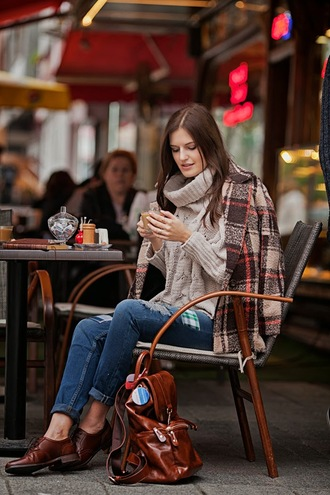 the bow-tie blogger knitted sweater oxfords ripped jeans winter coat coat jeans sweater fall outfits winter outfits fall sweater turtleneck