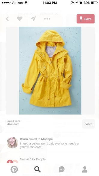 coat raincoat yellow coat winter coat yellow