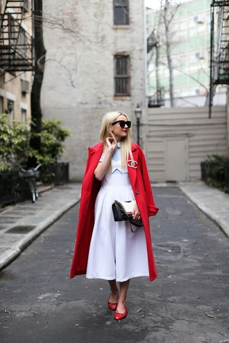atlantic pacific blogger sunglasses red coat chanel white dress flats streetstyle streetwear