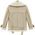Beige Lapel Long Sleeve Zipper Wool Coat - Sheinside.com