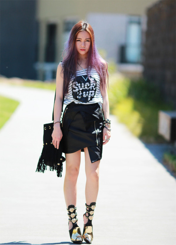 chloe ting t-shirt skirt shoes jewels