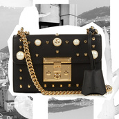 oracle fox,blogger,gucci bag,designer bag,black leather bag,chain bag,pearl,studded bag,embellished,gucci