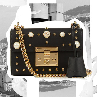 oracle fox blogger gucci bag designer bag black leather bag chain bag pearl studded bag embellished gucci