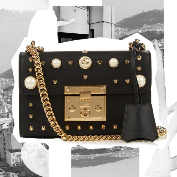 8c72a32ffcd897 oracle fox blogger gucci bag designer bag black leather bag chain bag pearl studded  bag embellished