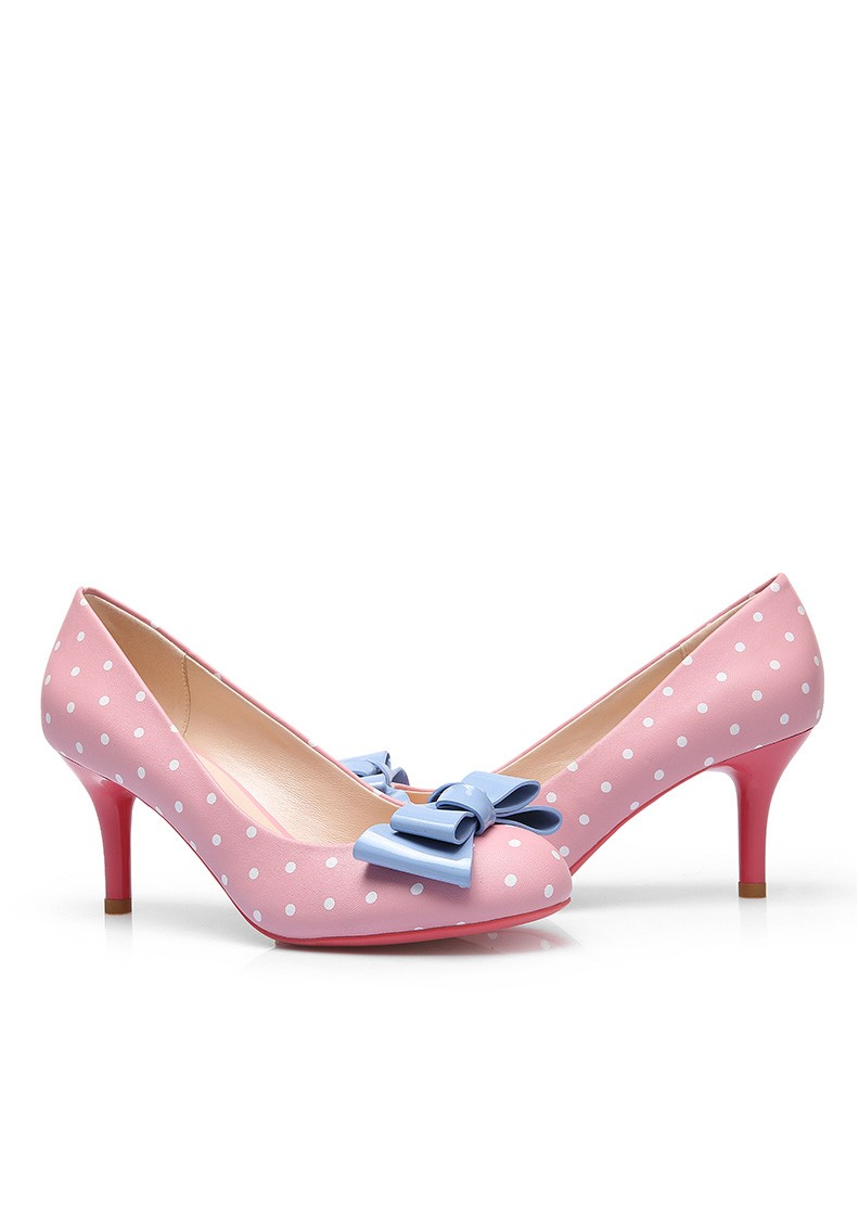 Faux Leather Mat Finish Polka Dot High Heel Shoe | ReoRia
