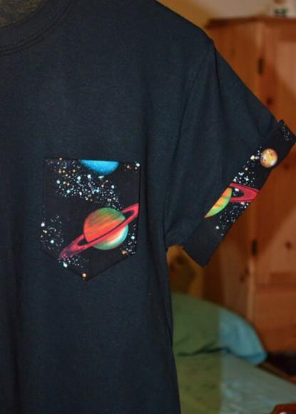 t-shirt pocket t-shirt pocket t shirt space galaxy print pocket tee cuffed sleeve t space pocket saturn saturn shirt saturn pocket cuffed sleeves