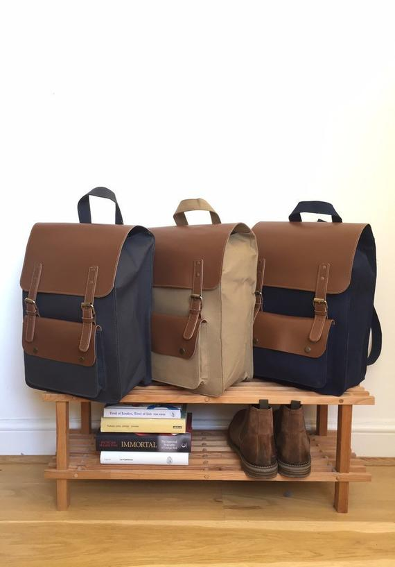 LEATHER and CANVAS BACKPACK, 16 x 12 inches, school backpack, leather Rucksack, Hipster Backpack