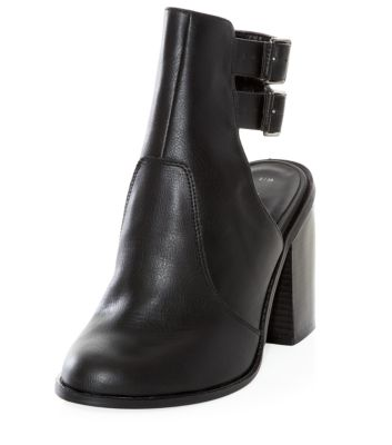 Black Double Ankle Strap Open Back Boots
