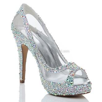 shoes pumps silver prom heels crystal rhinestones formal sparkle dressofgirl