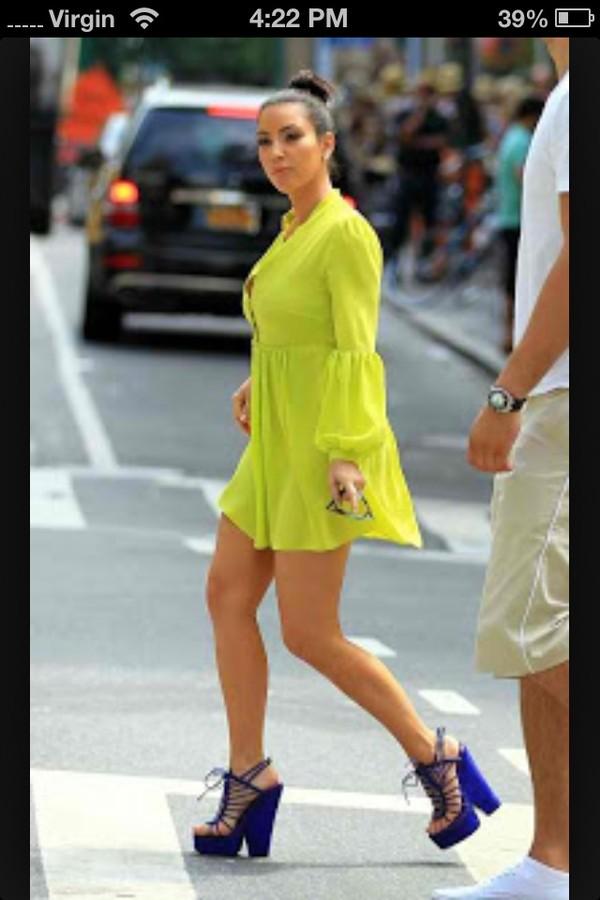 Shoes Blue Wedges Lace Up Kim Kardashian Wheretoget