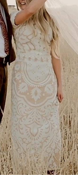 dress wedding dress lace dress white nude cap sleeves