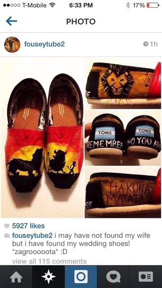 shoes toms lion king disney hukuna mattata cute summer