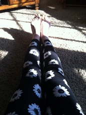 pants,leggings,daisy,flowers,black and white,spring,2014,forever 21